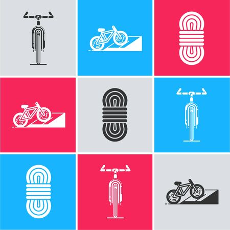Set Bicycle, Bicycle on street ramp and Climber rope icon. Vector