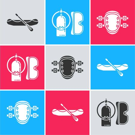 Set Rafting boat, Diving mask and aqualung and Knee pads icon. Vector