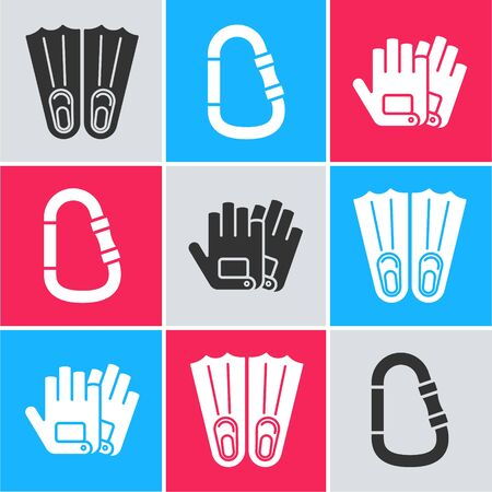 Set Rubber flippers for swimming, Carabiner and Gloves icon. Vector