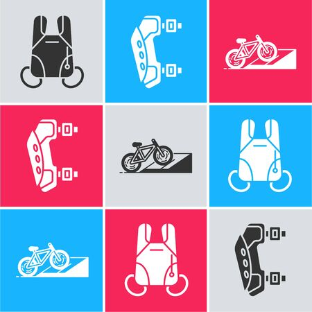 Set Parachute, Knee pads and Bicycle on street ramp icon. Vector Foto de archivo - 139587639