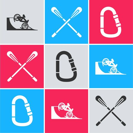 Set Bicycle on street ramp, Crossed paddle and Carabiner icon. Vector Ilustrace