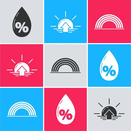 Set Water drop percentage, Sunrise and Rainbow with clouds icon. Vector 向量圖像