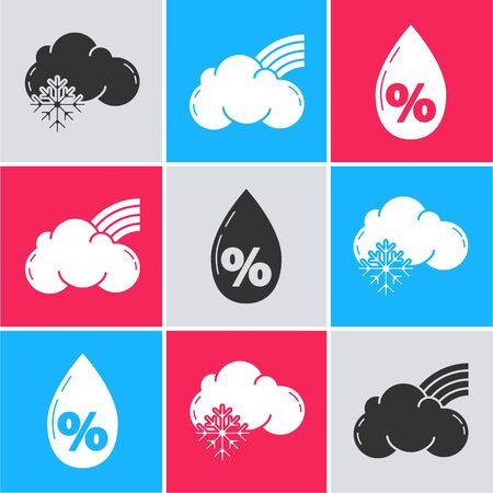 Set Cloud with snow, Rainbow with clouds and Water drop percentage icon. Vector