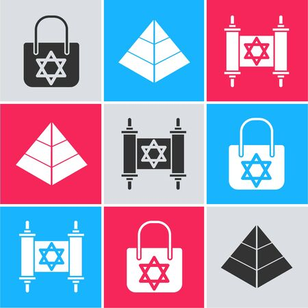 Set Shopping bag with star of david, Egypt pyramids and Torah scroll icon. Vector