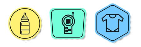 Set line Baby bottle, Baby Monitor Walkie Talkie and Baby wear. Colored shapes. Vector