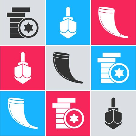 Set Jewish coin, Hanukkah dreidel and Traditional ram horn, shofar icon. Vector Illustration