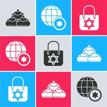 Set Jewish sweet bakery, World Globe and Israel and Shopping bag with star of david icon. Vector