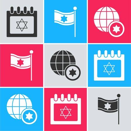 Set Jewish calendar with star of david, Flag of Israel and World Globe and Israel icon. Vector Иллюстрация