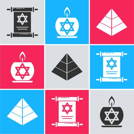 Set Torah scroll, Burning candle in candlestick with star of david and Egypt pyramids icon. Vector Ilustrace
