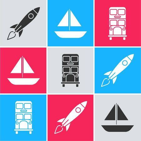 Set Rocket ship with fire, Yacht sailboat or sailing ship and Double decker bus icon. Vector