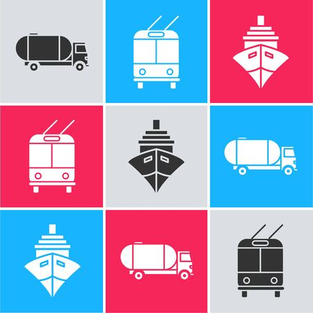 Set Tanker truck, Trolleybus and Cargo ship icon. Vector Illustration