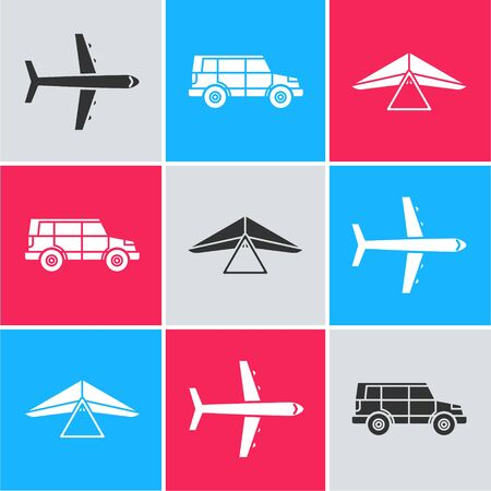 Set Plane, Off road car and Hang glider icon. Vector