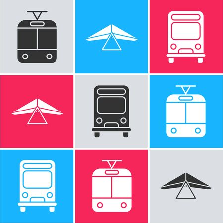 Set Tram and railway, Hang glider and Bus icon. Vector