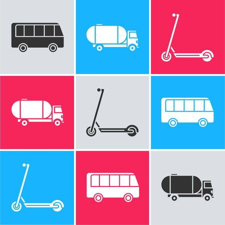 Set Bus, Tanker truck and Scooter icon. Vector