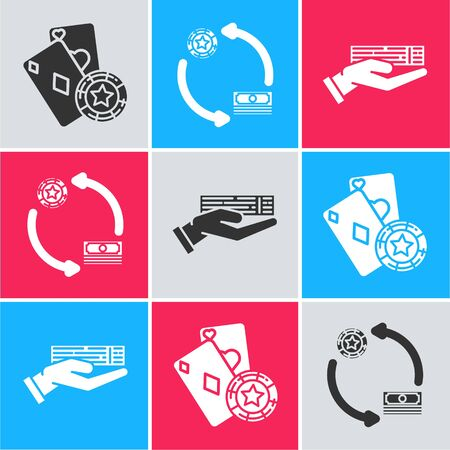 Set Casino chip and playing cards, Casino chips exchange on stacks of dollars and Hand holding deck of playing cards icon. Vector