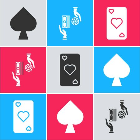 Set Playing card with spades symbol, Casino chips exchange on stacks of dollars and Playing card with heart symbol icon. Vector Ilustracja