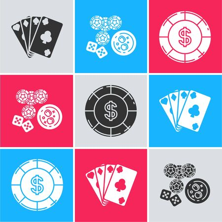 Set Playing cards, Casino chips, game dice and glass of whiskey with ice cubes and Casino chip with dollar symbol icon. Vector Zdjęcie Seryjne - 139591452