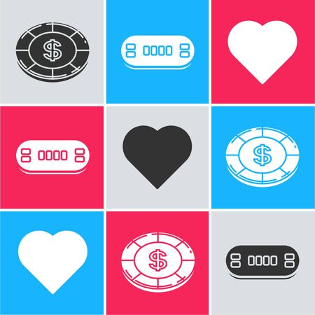 Set Casino chip with dollar symbol, Poker table and Playing card with heart symbol icon. Vector