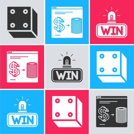 Set Game dice, Online casino chips exchange on stacks of dollars and Casino win icon. Vector Ilustracja