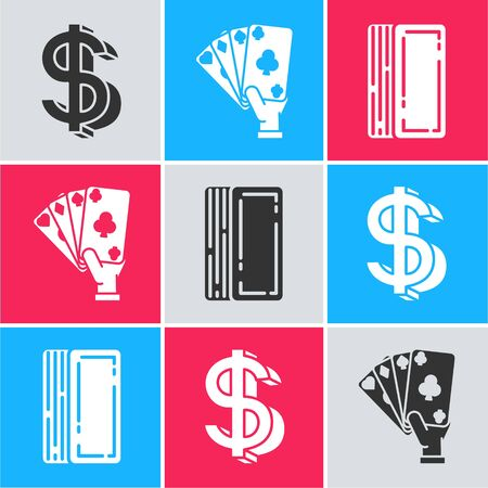 Set Dollar symbol, Hand holding playing cards and Deck of playing cards icon. Vector