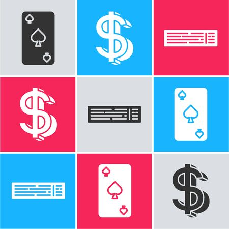 Set Playing card with spades symbol, Dollar symbol and Deck of playing cards icon. Vector