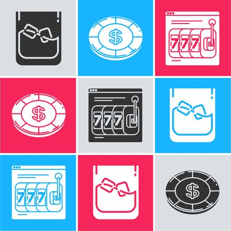 Set Glass of whiskey and ice cubes, Casino chip with dollar symbol and Online slot machine with lucky sevens jackpot icon. Vector