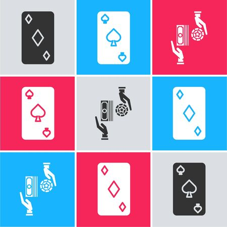 Set Playing card with diamonds symbol, Playing card with spades symbol and Casino chips exchange on stacks of dollars icon. Vector