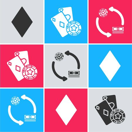 Set Playing card with diamonds symbol, Casino chip and playing cards and Casino chips exchange on stacks of dollars icon. Vector Ilustracja
