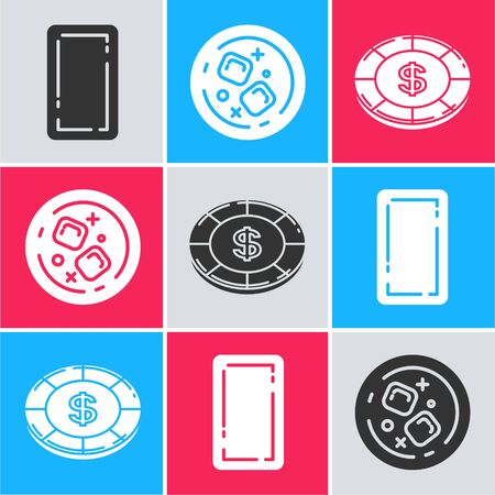 Set Playing card back, Glass of whiskey and ice cubes and Casino chip with dollar symbol icon. Vector