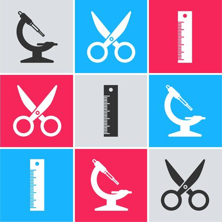 Set Microscope, Scissors and Ruler icon. Vector Ilustracja