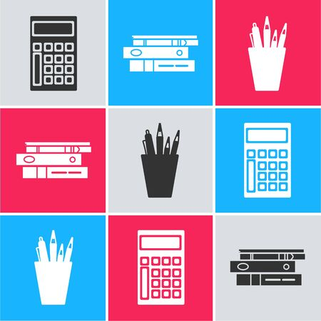 Set Calculator, Office folders with papers and documents and Pencil case stationery icon. Vector
