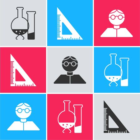 Set Test tube and flask chemical laboratory test, Triangular ruler and Student icon. Vector