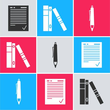 Set Exam sheet with check mark, Office folders with papers and documents and Pen icon. Vector Stock Illustratie