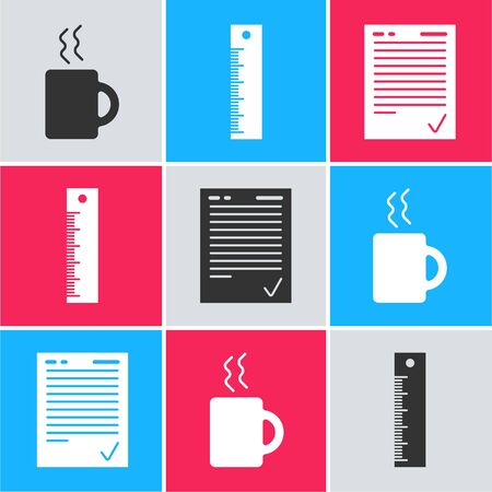 Set Coffee cup, Ruler and Exam sheet with check mark icon. Vector