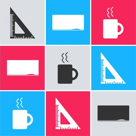 Set Triangular ruler, Chalkboard and Coffee cup icon. Vector Ilustracja