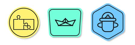 Set line Piece of puzzle, Folded paper boat and Baby bottle. Colored shapes. Vector