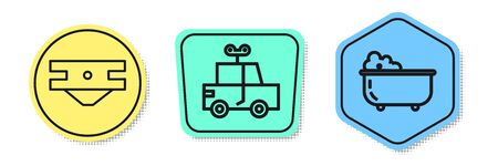 Set line Baby absorbent diaper, Toy car and Baby bathtub. Colored shapes. Vector