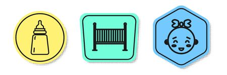 Set line Baby bottle, Baby crib cradle bed and Happy little girl head. Colored shapes. Vector