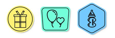 Set line Gift box, Balloons in form of heart and Baby bottle. Colored shapes. Vector