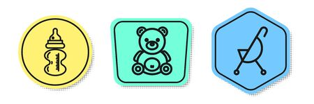 Set line Baby bottle, Teddy bear plush toy and Baby stroller. Colored shapes. Vector