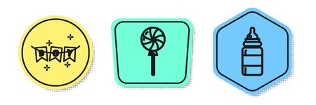 Set line Carnival garland with flags, Lollipop and Baby bottle. Colored shapes. Vector Иллюстрация