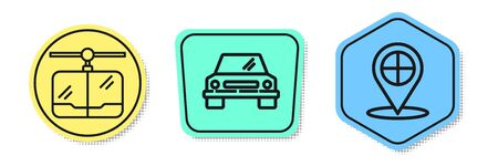 Set line Cable car, Car and Map pointer with taxi. Colored shapes. Vector Ilustrace