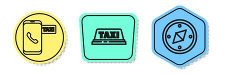 Set line Taxi call telephone service, Taxi car roof and Compass. Colored shapes. Vector