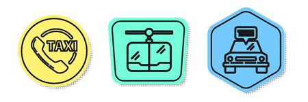 Set line Taxi call telephone service, Cable car and Taxi car. Colored shapes. Vector Ilustrace