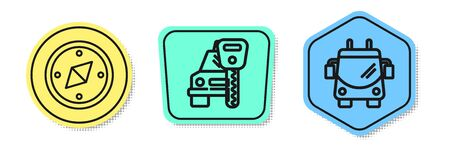 Set line Compass, Car rental and Trolleybus. Colored shapes. Vector