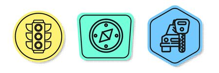 Set line Traffic light, Compass and Car rental. Colored shapes. Vector