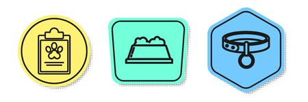 Set line Clipboard with medical clinical record pet, Pet food bowl and Collar with name tag. Colored shapes. Vector