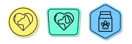 Set line Heart with cat, Heart with dog and Bag of food for pet. Colored shapes. Vector Иллюстрация