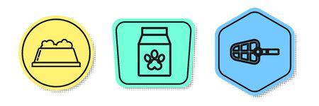 Set line Pet food bowl, Bag of food for pet and Dog muzzle. Colored shapes. Vector