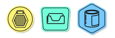 Set line Pet carry case, Pet bed and Canned food. Colored shapes. Vector